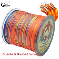 Braided Fishing Line 300M 16 Strands Multicolor Super Power Japan Multifilament PE Braid Line
