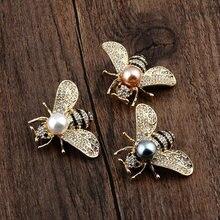 Женские броши в виде пчел с прозрачным кристаллом и жемчугом