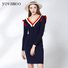 Yovamoo 2018 Autumn Sweet Sweater Dress V-neck Striped Color Block Women Straight Knee-Length Slim Knitted Dresses Blue / Black stylish flanging color block striped knitted beanie for women