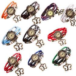 Кварцевые переплетения вокруг кожа бабочка Высокое качество Элегантные наручные ремешок новая мода браслет леди женские наручные часы
