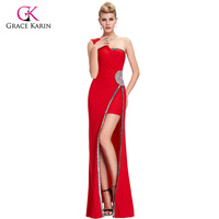 Grace Karin One Shoulder Sexy Side Split Red Long Evening Dress Vestido Bodycon Party Dinner Gown