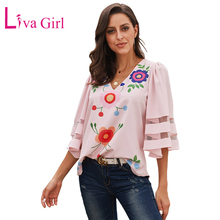 LIVA GIRL Sexy V Neck Floral Print Shirt and Blouse with Bell Sleeve Woman New Summer Casual Black/Pink/White Blouses and Tops pink random floral print crossed front v neck flared sleeves blouses