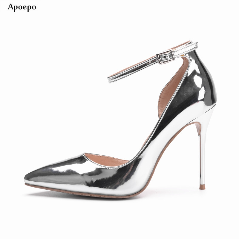 Apoepo 2018 Spring Silver Metallic Leather High Heel Shoes Sexy Pointed toe Ankle Strap Woman Pumps Cutout Wedding Heels hot selling silver leather pointed toe high heel shoes 2017 sexy thick heels crystal embellished pump cutouts ankle strap shoes