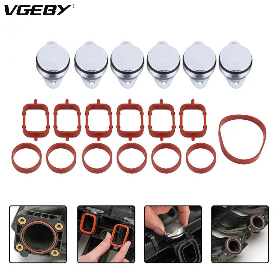 4/6pcs 22mm Diesel Swirl Flap Blanks Bungs Intake Gaskets Kit for BMW 320d 330d 520d 525d 530d SI-A0136
