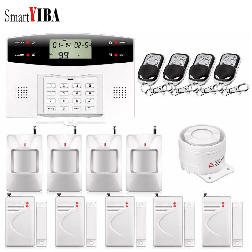 SmartYIBA Free shipping LCD dispaly home wireless GSM alarm system 850/900/1800/1900MHZ hot sales lcd display wireless wired sms gsm alarm system auto dial gsm 850 900 1800 1900mhz home security gsm alarm system