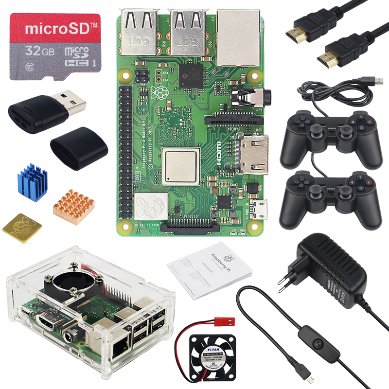 Raspberry Pi 3 Model B+ Game Kit + 32G SD Card + 2 Gamepad + Acrylic Case + Fan + 3A Power + Heat Sink + HDMI Cable for RetroPieRaspberry Pi 3 Model B+ Game Kit + 32G SD Card + 2 Gamepad + Acrylic Case + Fan + 3A Power + Heat Sink + HDMI Cable for RetroPie