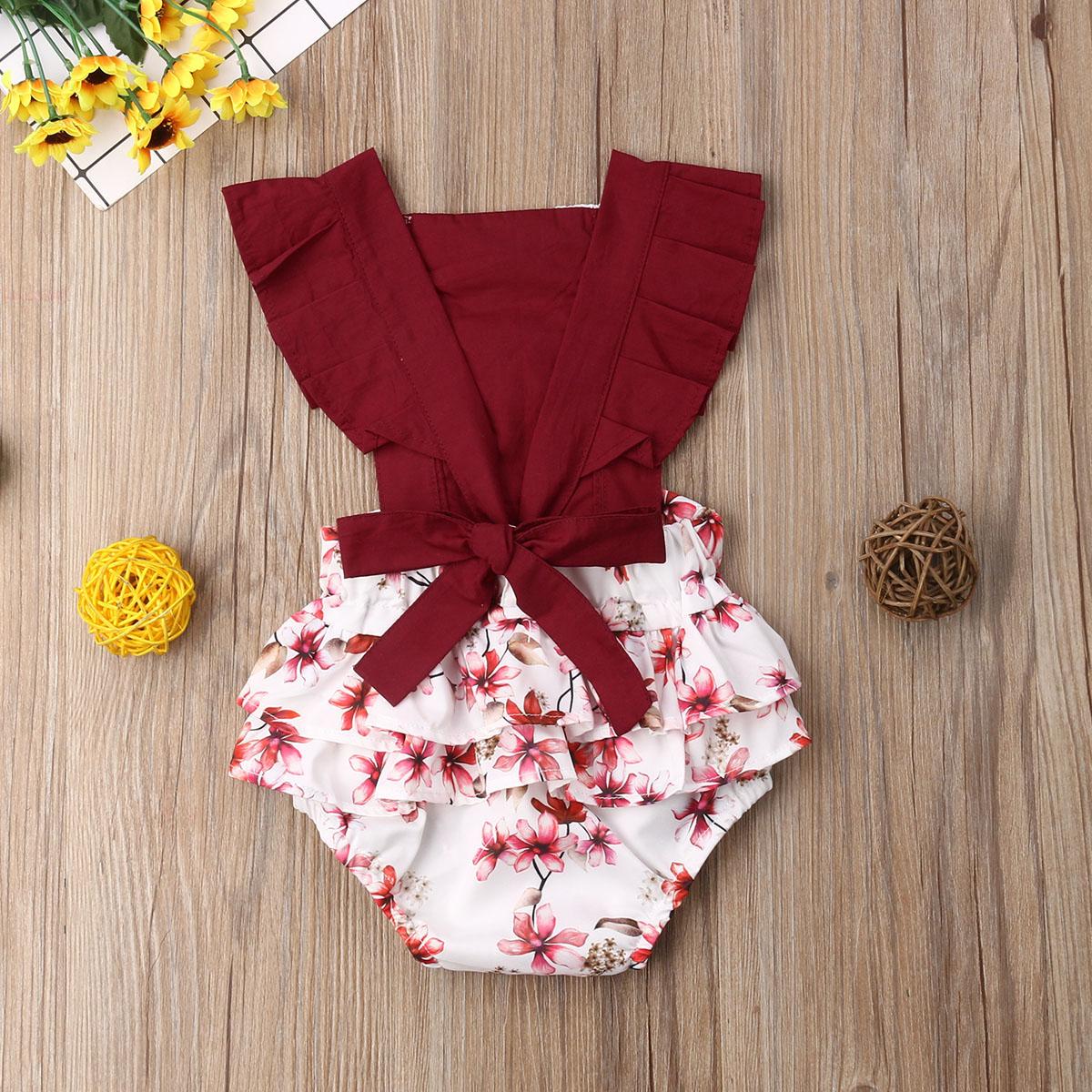 M Newborn Infant Baby Girl Flower Lace Clothes Flutter Sleeve Patchwork Bubble Jumpsuit Romper One