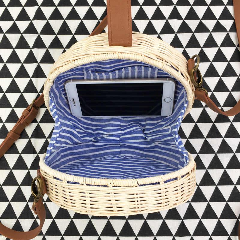 REREKAXI Hand-woven Rodada Saco Rattan Bolsa de Palha Sacos de Praia Para As Mulheres 2018 Mensageiro Tecer Feminino Rodada Tambor bolsa de Ombro Crossbody sacos