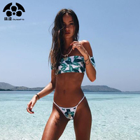 2017 Summer Newest Print Thong Push Up Bathing Suit Crop Top Sexy Bikinis Set Women Off