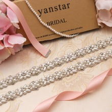 Yanstar Pearls Wedding Dress Belt Gold Bridal Belt Handmade Ivory Ribbons Belt Sash For Prom Dresses 37WB803