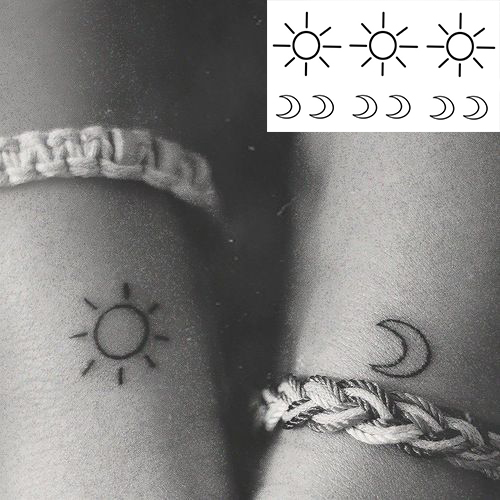 Waterproof Temporary Tattoo Sticker Small Cross Sun And Moon On Finger Ear Tatto Flash Tatoo Fake Tattoos For Girl Women Men