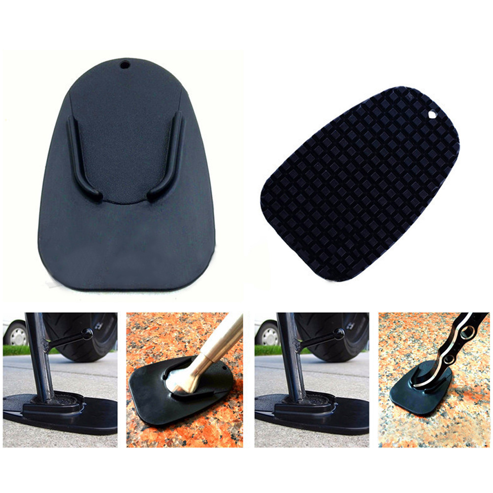 1pc Black Universal Motorcycle Plastic Side Stand Moto Bike Kickstand Non-slip Plate Side Extension Support Foot Pad Base