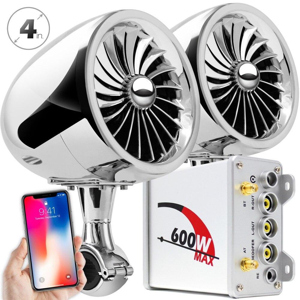 Aileap motosiklet/ATV ses sistemi ile Bluetooth FM radyo Aux girişi kablolu kontrol bir çift 4