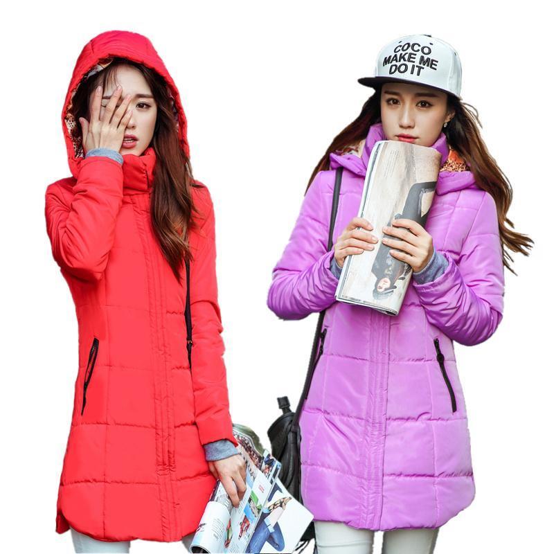 Autumn winter jacket Women Thick Hooded Cotton-Padded Jacket Plus size Candy color Slim Cotton winter coat women Parka 6XL
