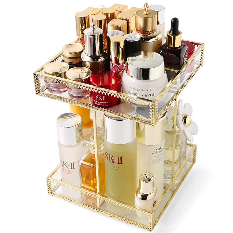 New Arrivals Square Gold Glass 360,degree Rotating Makeup Organizer Holder  Box Cube Glod Glass Makeup Cosmetic Storage Box B2265