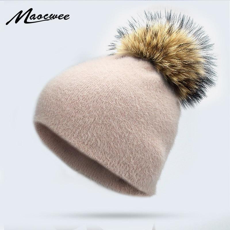Girl Women Winter Warm Skullies Beanies Rabbit Fur Knitted Beanies Real Fur Pom Pom Hat Cap Soft Solid Raccoon Fur Pompon Bone