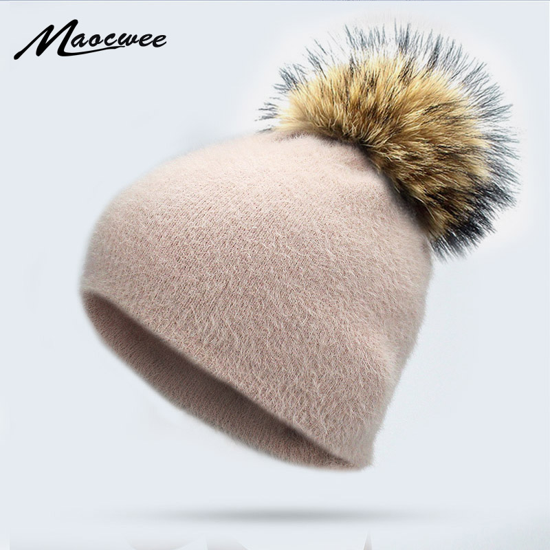 Girl Women Winter Warm   Skullies     Beanies   Rabbit Fur Knitted   Beanies   Real Fur Pom Pom Hat Cap Soft Solid Raccoon Fur Pompon Bone