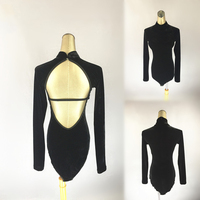 Latin Dance Shirts Black Leotard Velvet Nylon Halter Chest Pad Long Sleeve Open Back Top Womens Amba Latin Practice Wear DN2343