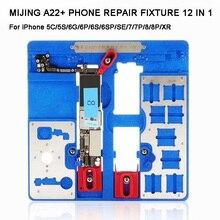 1 で 12 MIJING A22 + マザーボードの修理フィクスチャ PCB ホルダージグ Iphone 5 S/6/ 6 S/6SP/7/7 1080P/8/8 P/XR メンテナンスプラットフォーム
