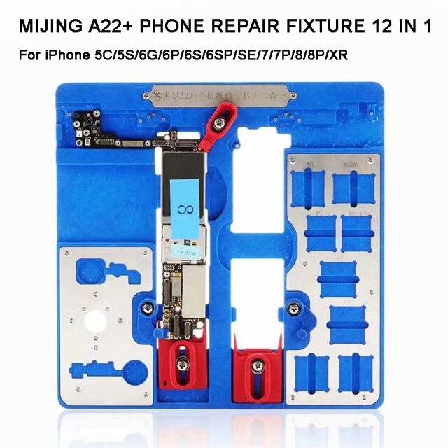 12 IN 1 MIJING A22 + Moederbord Reparatie Armatuur PCB Houder JIG BOARD Voor iPhone 5 S/6/ 6 S/6SP/7/7 P/8/8 P/XR Onderhoud Platform