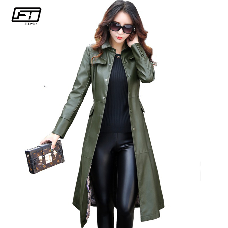 Fitaylor New Women Long   Leather   Jacket Plus Size 5XL Ladies Elegant Washed PU   Leather   Coats Trench Female Outerwear With Belted