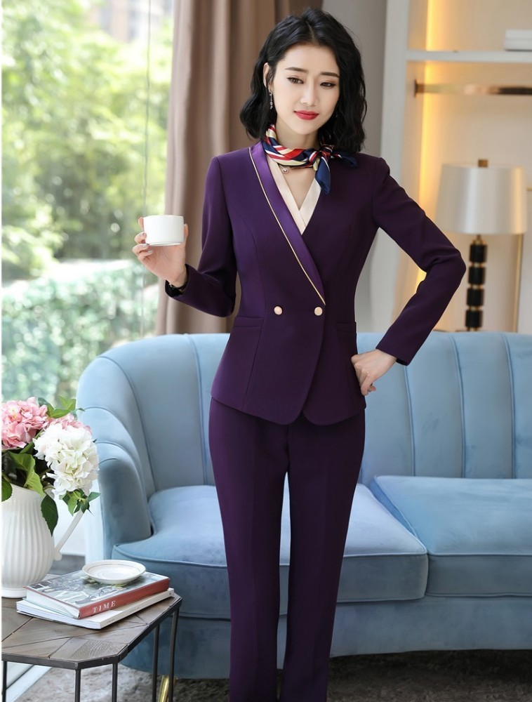 Novelty Purple Formal Professional Business Suits With Pants And Jackets Coat For Women Business Work Wear Blazers Pantsuits