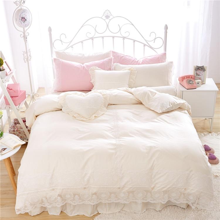Soft Cotton Lace Beige color Bedding Set King Queen Twin Size Girls Women Bed skirt set Duvet/Quilt Cover Gifts Pillow shams