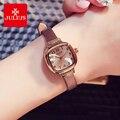 Женские винтажные часы Julius  кварцевые часы с квадратным цифровым циферблатом и кожаным ремешком
