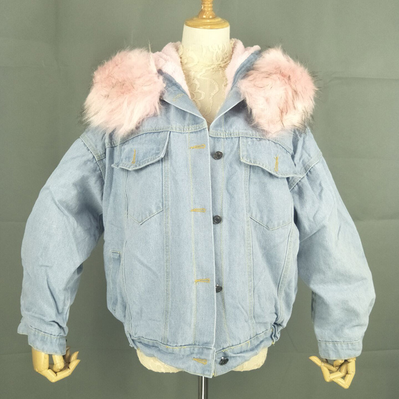 BONU Winter Fur Denim Jacket For Women Thick plus size Loose Casual Jean Coat Single Breasted Winter Jean Jacket chaquetas mujer 3