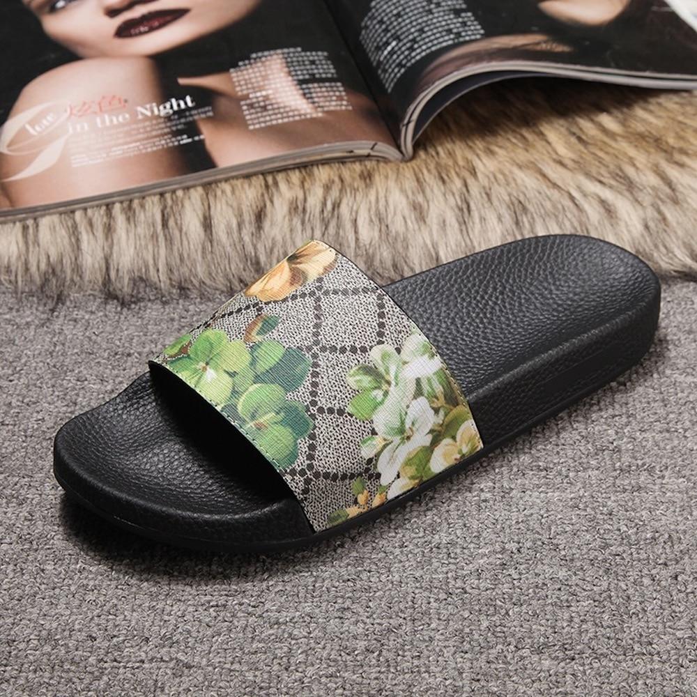 Ayakk.'ten Terlikler'de Kadın Terlik 2019 Yeni Moda Çiçek düz ayakkabı Sıcak Satış Plaj Hakiki Deri Kapalı Açık Kadın Slaytlar Büyük Boy 42'da  Grup 1
