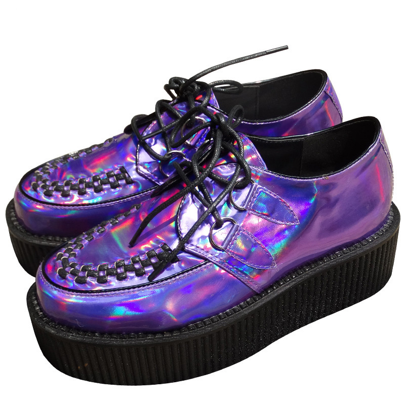 ФОТО Big size 35~43 Four Seasons  Womens Punk Gothic Rock Double Platform Creepers Shoes Lace UP Purple laser hologram Shoe