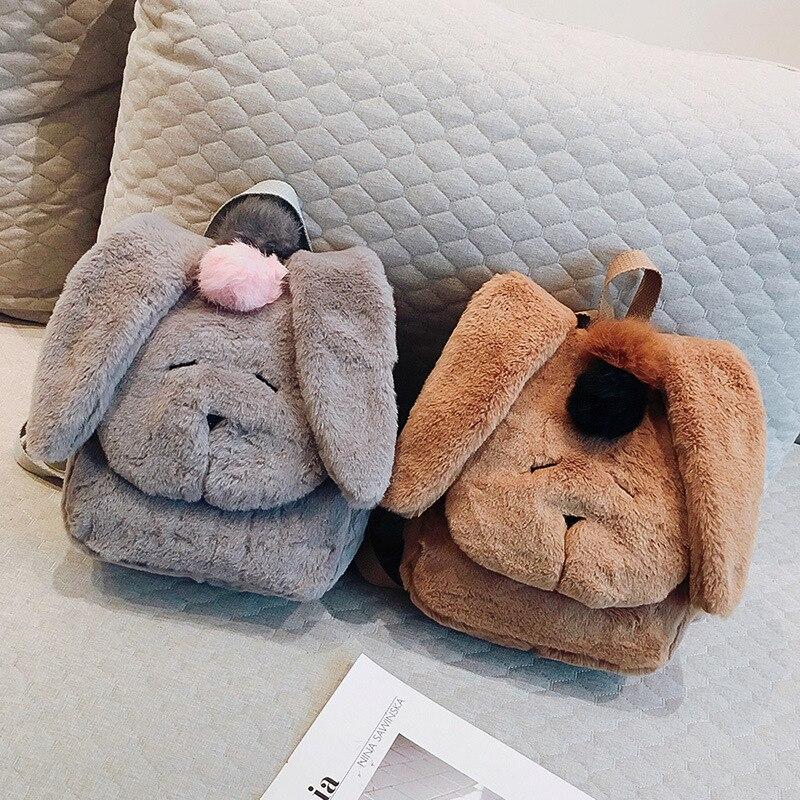2018 ny söt söt plysch kanin päls ryggsäck koreanska axelväska ... d295918e8b2e8