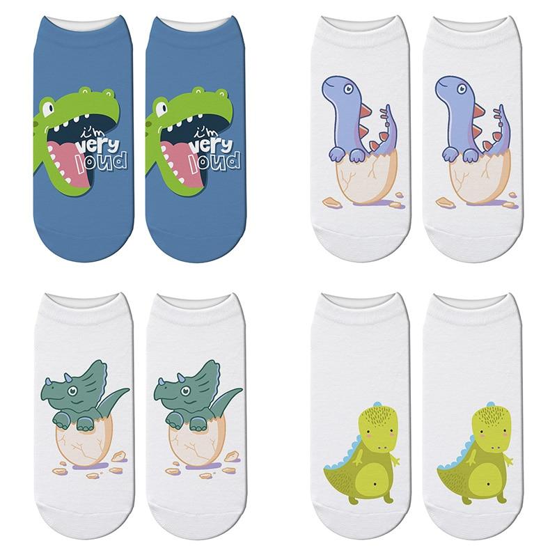 New 3D Printed Cartoon Dinosaur Eggs Women Socks Children Cute Dinosaur Short Socks Kawaii Tyrannosaurus Rex Ankle Socks