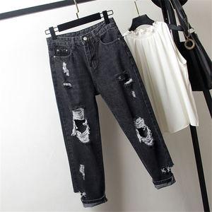 Image 4 - החבר Vintage ג ינס לנשים גבוהה מותן Loose Ripped ג ינס Femme ג ינס הרמון מכנסיים Streetwear בתוספת גודל ג ינס אמא 4XL q1413