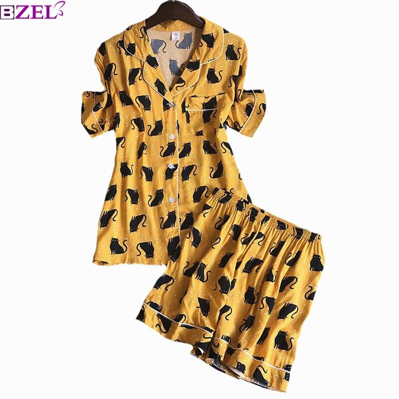 Women   Pajama     Set   Short Sleeve+ Shorts Korean Style Sleepwear Turn-down Collar Cute Cat Printed Ladies Loose Homewear Casual Wear