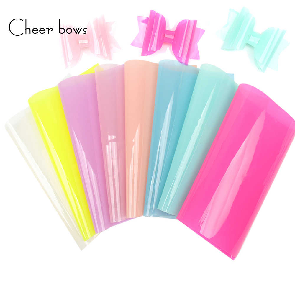 Cheerbows Synthetic Leather Fabric Sheets Candy Jelly Transparent Shiny Vinyl For Party Decor DIY Hairbow Accessories
