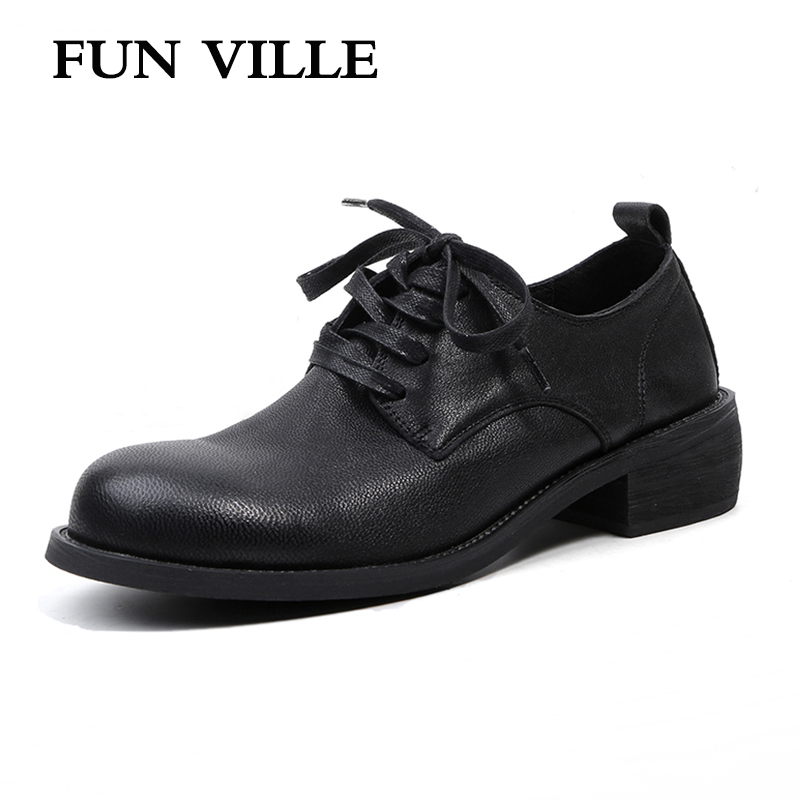 FUN VILLE 2018 New Fashion Women Flats shoes Genuine Leather sheepskin Casual shoes Square heel 4cm Round toe lace-up size 34-43 foreada genuine leather shoes women flats round toe lace up oxfords shoes real leather casual boat shoes brown pink size 34 40