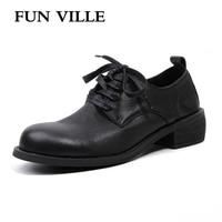 FUN VILLE 2018 New Fashion Women Flats Shoes Genuine Leather Sheepskin Casual Shoes Square Heel 4cm
