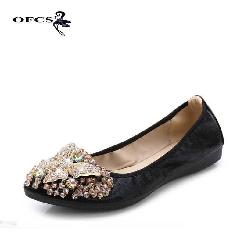 New Crystal Slip-On Casual Shoes Female Brand Women Bling Cloth Pointed Toe Ballet Flats 2017 Spring/Autumn Women Shoes new brand autumn women metal flat shoes casual lady slip on flats soft soled natual leather pointed toe shoes comfort female