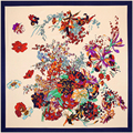 100x100 Retro Floral Foulard Women 100% Silk Square Scarf Head Scarves Multifunctional Bandana Brand New