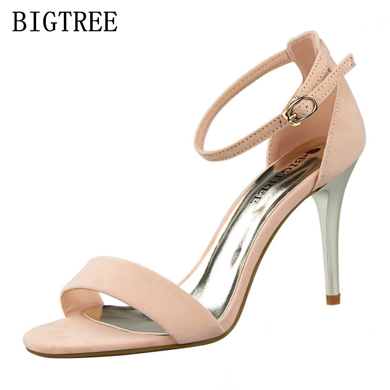 Women Sandals Summer 2017 Sexy Pumps Flock Peep Toe Buckle Strap Dress Shoes Luxury Brand Lady High Heels Bigtree Shoes Wedding xiaying smile summer woman sandals platform wedges women pumps buckle strap fashion casual flock lady bling crystal women shoes
