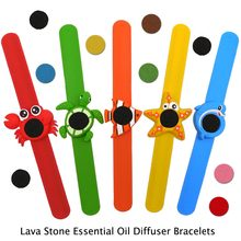 Kids Animal Adjustable Lava Mosquito Repellent Bracelet Lava Essential Oil Diffuser Bracelet Children Adlut Lava Silicon Bangle(China)