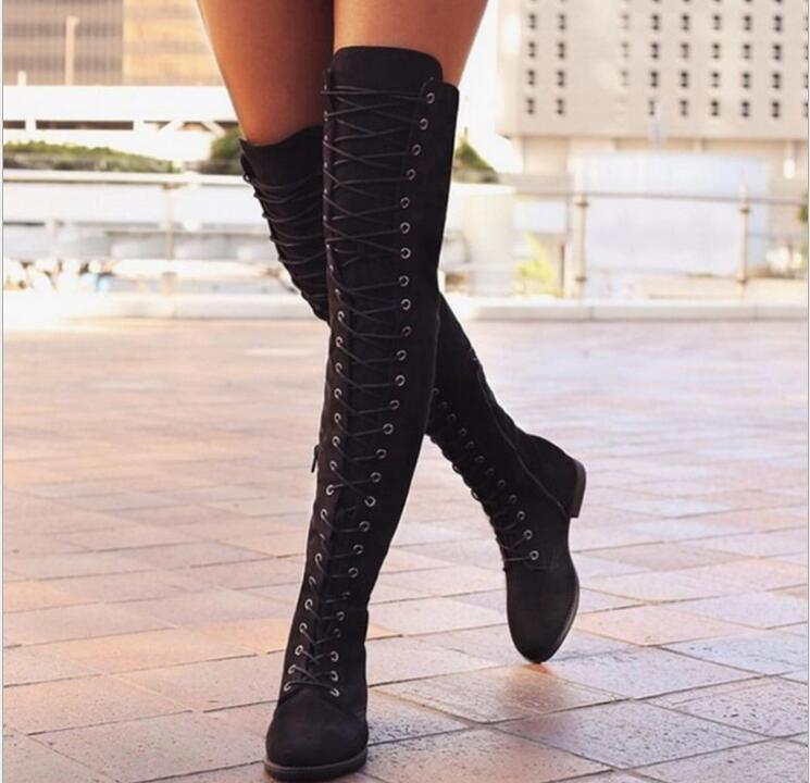 2018 Mode Frauen Knie Lange Winter Chelsea Stiefel Flache Ferse Hohe Spitze Up Warm Schwarz Britischen Stiefel Für Frau Schuhe Schnee Stiefel Wasserdicht, StoßFest Und Antimagnetisch
