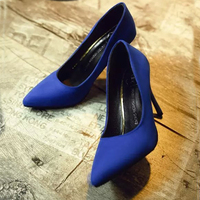 2018 new women's single shoes Korean fashion sexy pointed shallow mouth suede high heels wild professional work shoes Pumps