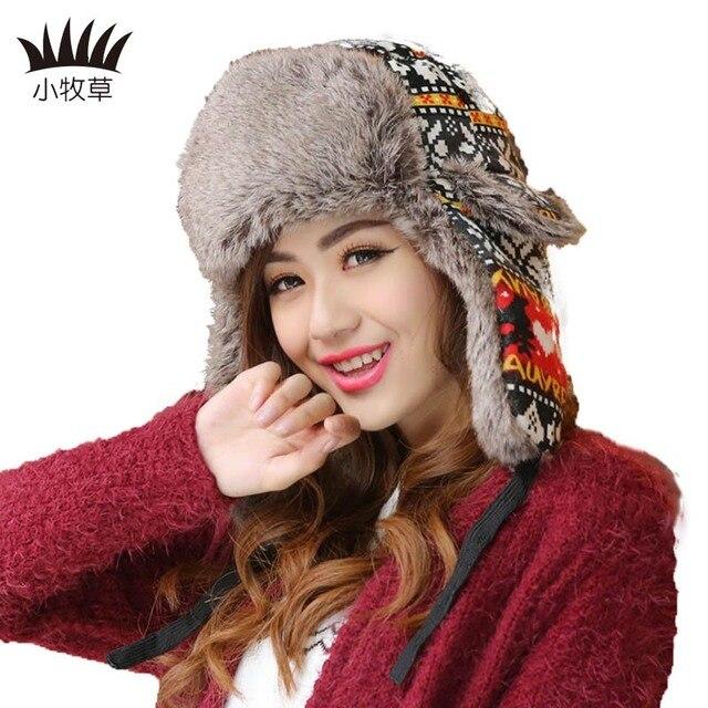 f04e6dff4c2382 Winter Warm Earflap Bomber Hats Ushanka Russian Hat Women Snow Ski Hat For Women  Winter Aviator Ear Flaps Cap Bomber Hats