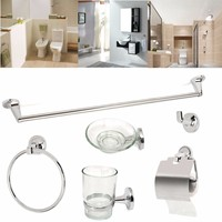 Home Bathroom Toilet Chrome 6 Accessory Set WC Roll Holder Soap Toothbrush Towel Hook The Best Quality