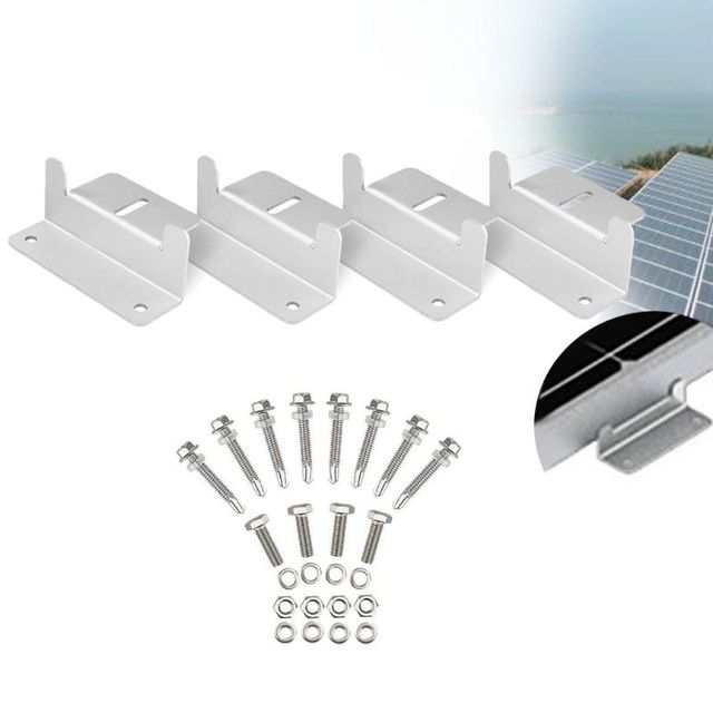 1Set Solar Panel Z Style Aluminum Brackets Nuts Bolts And Washers For Mounting Solar Panels On Motorhomes Caravans Boats Roofs