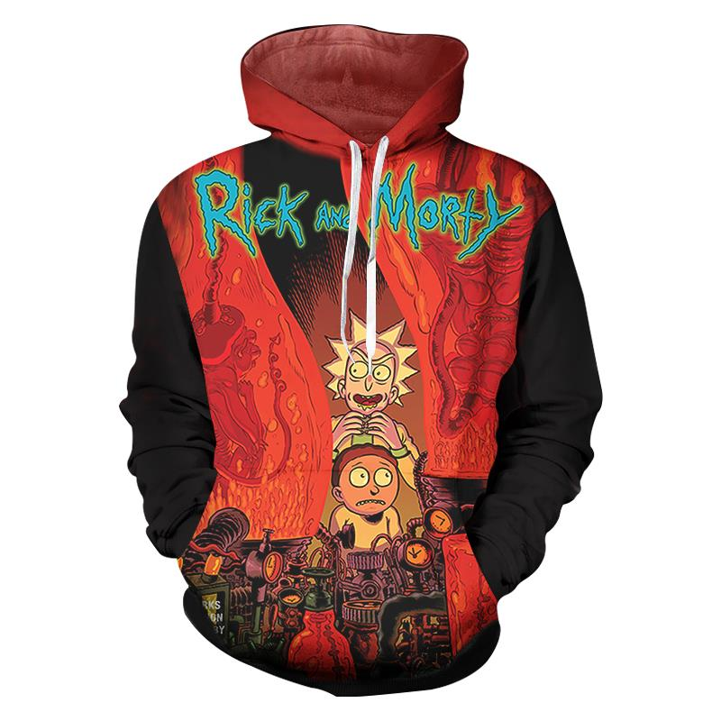 2018 Fashion Hip Hop 3d Hoodies Hot Cartoon Rick And Morty Printed Men Sweatshirt Hoodie Regular O-neck Hooded Pullovers