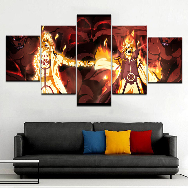 Cartoon Posters On Canvas Home Decoration Frame 5 Panel Anime Naruto Character Living Room Wall Art HD Printed Pictures Painting