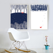 Nordic Cute Cartoon Pine Trees Snowing Landscape Canvas Painting Poster Print Chic Wall Drawing Ornament For Cafe Bedroom Shop недорого